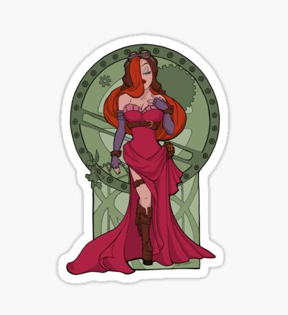 Steampunk Jessica Nouveau Digital T shirt Sticker