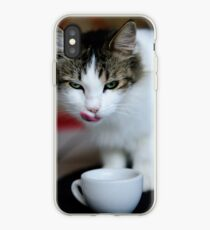 purrfect cappuccino, cat and coffee cup iPhone Case