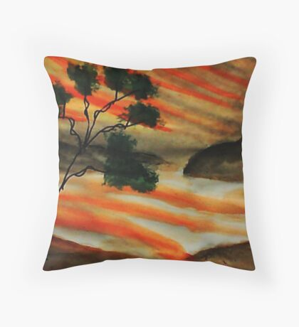 Beautiful sunset with fantacy tree, watercolor Throw Pillow