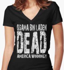 Osama is Dead - Dark Women's Fitted V-Neck T-Shirt