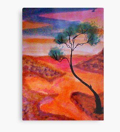 Fantasy tree over a water scene, watercolor Metal Print