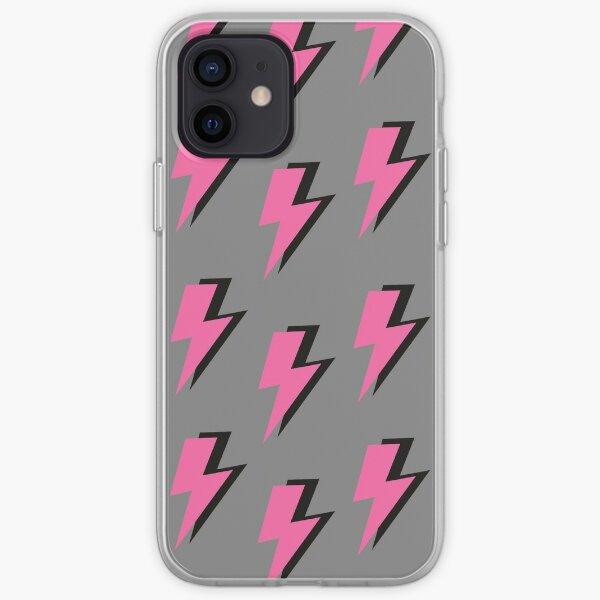 Pink Lightning Bolt on a Grey Background  iPhone Soft Case