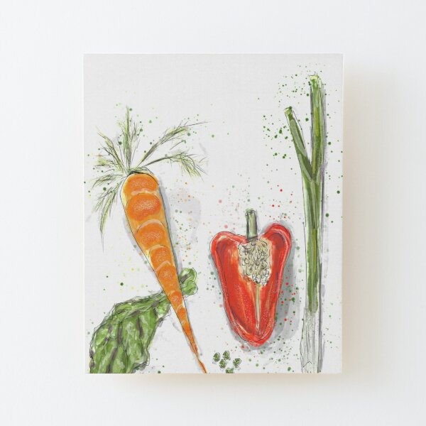 Whimsical Art: Vegetables! Wood Mounted Print