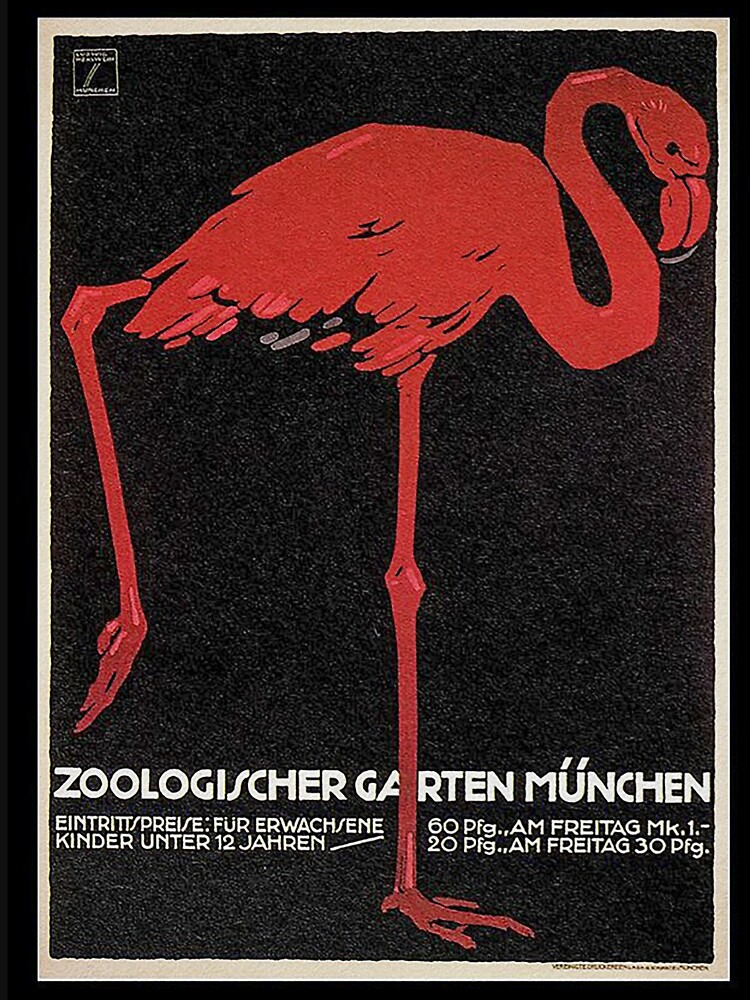 Bavarian Flamingo..Vintage Munich Zoo ad by edsimoneit