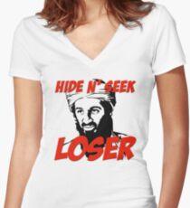 Osama Bin Laden Hide N' Seek Loser Women's Fitted V-Neck T-Shirt