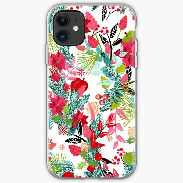 Poinsettia Christmas floral pattern iPhone Soft Case