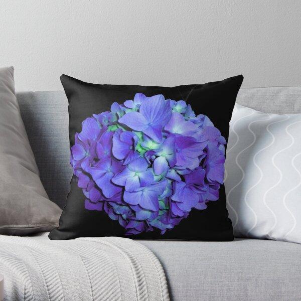 Romantic Periwinkle blue-teal hydrangea, purple floral photo   Throw Pillow