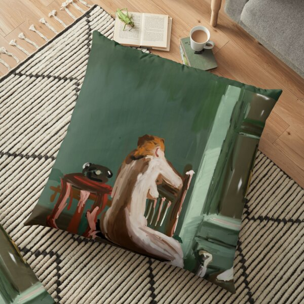 sad girl Floor Pillow