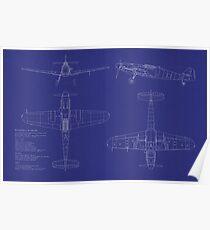 Messerschmitt ME109 Blueprint Poster