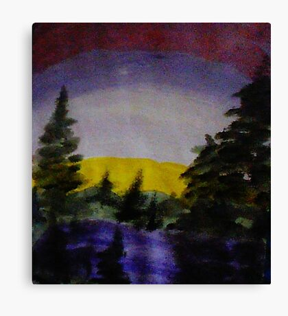 Sunset over the pines, watercolor Canvas Print