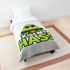 Kiss My Hass Avocado Emoji JoyPixels Funny Avocado saying Comforter