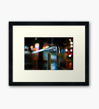 handrail at night Framed Print