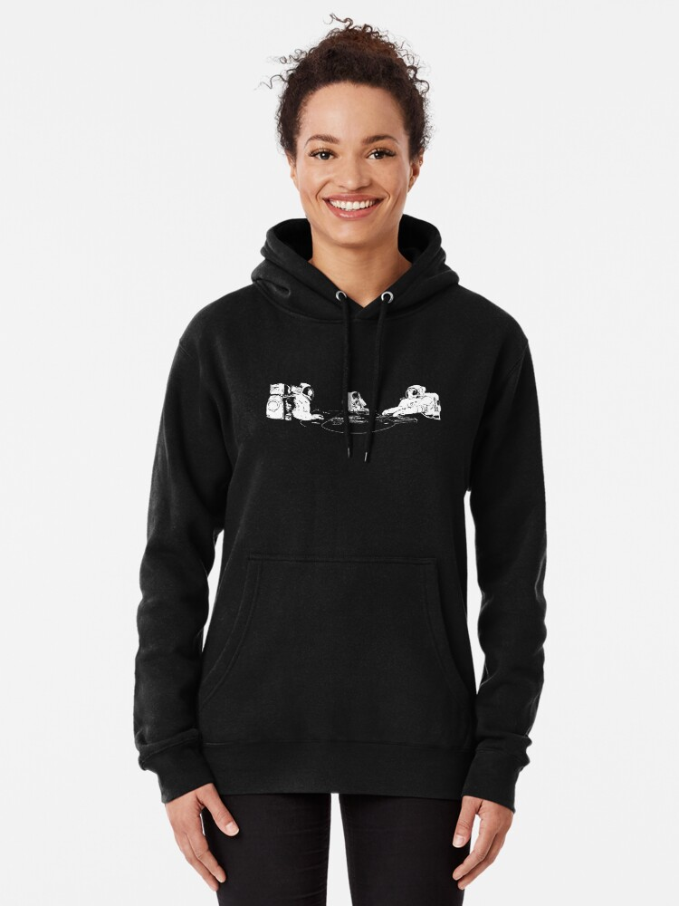 Alternate view of Poker Playing Astronauts Pullover Hoodie