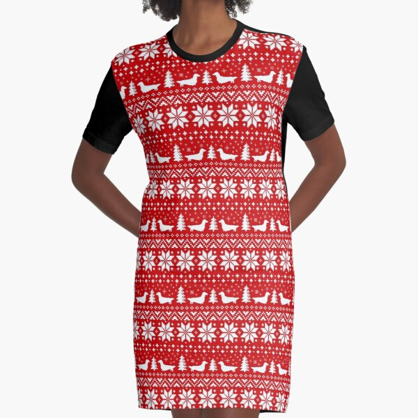 Long Haired Dachshund Silhouettes Christmas Sweater Pattern Graphic T-Shirt Dress