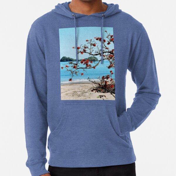 Tropical Madagascar Beach with Flowering Tree Lightweight Hoodie