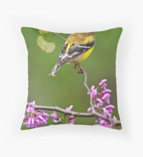 American Goldfinch on Redbud Throw Pillow