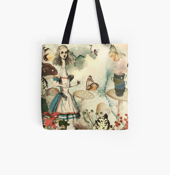 Alice in Wonderland Allover-Print Tote Bag