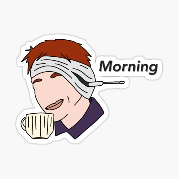 Morning Twin George Magical Funny Illustration Sticker
