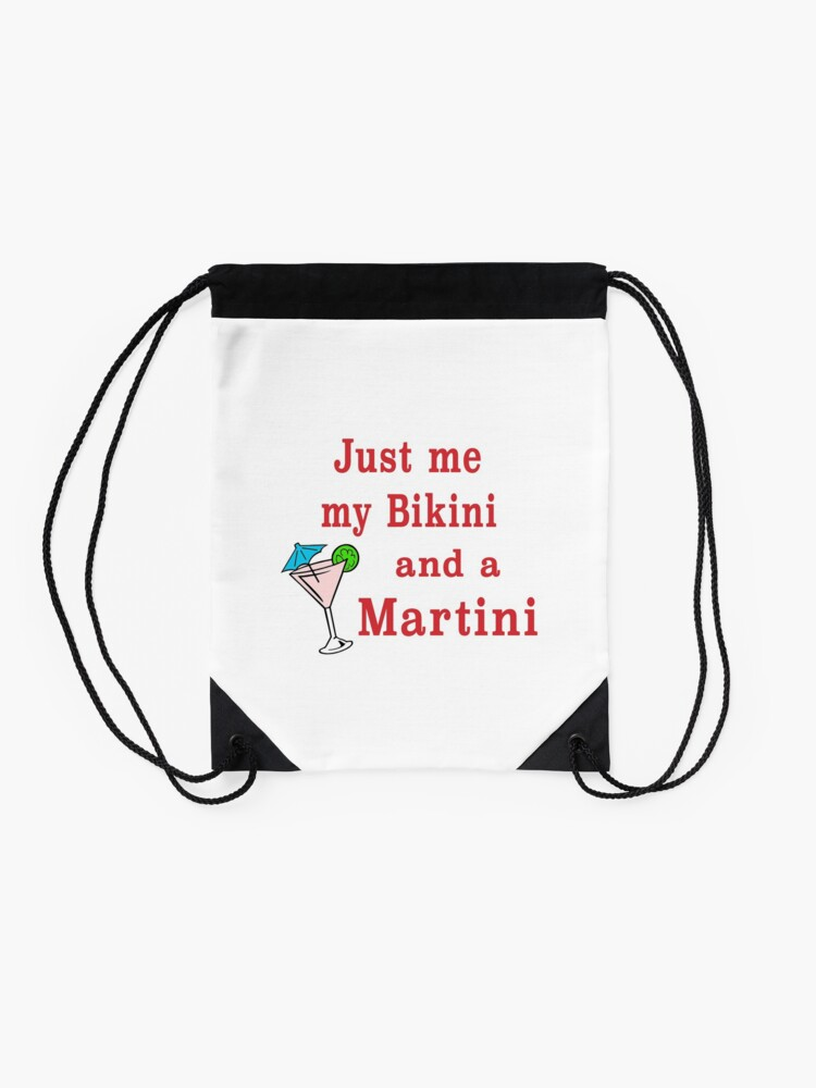Alternate view of Bikinis and Martinis sexy alcohol drinking gift. Drawstring Bag