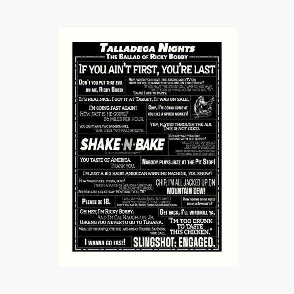 Talladega Nights - Quote Collage Art Print