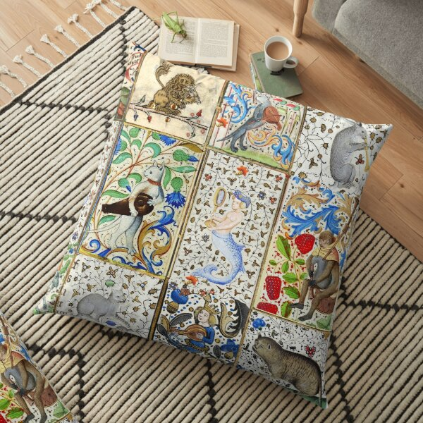 WEIRD MEDIEVAL BESTIARY PLAYING MUSICAL INSTRUMENTS AMONG FLOWERS AND FRUITS Floor Pillow