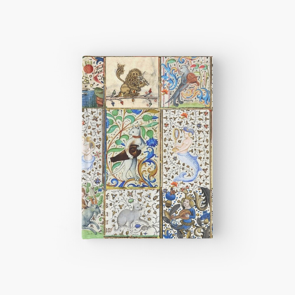 WEIRD MEDIEVAL BESTIARY PLAYING MUSICAL INSTRUMENTS AMONG FLOWERS AND FRUITS Hardcover Journal