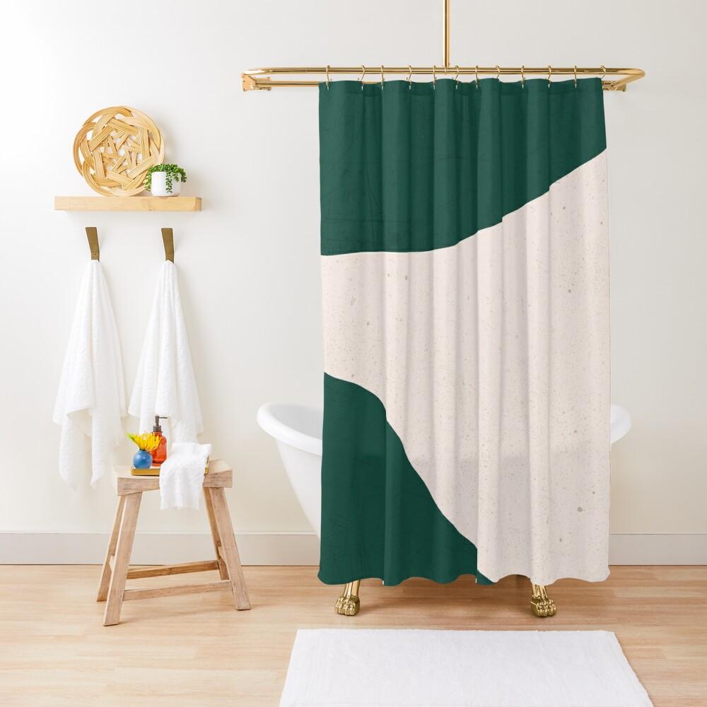 Emerald Green Cream abstract art Shower Curtain