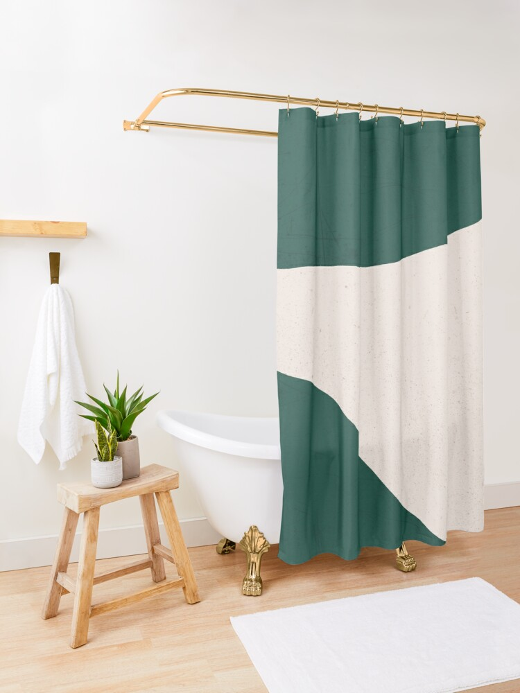 Alternate view of Emerald Green Cream abstract art Shower Curtain