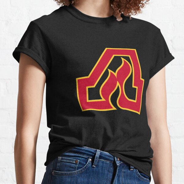Vintage Atlanta Hockey - Retro Flames - Black Classic T-Shirt