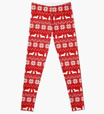 Pembroke Welsh Corgi Silhouettes Christmas Holiday Pattern Leggings