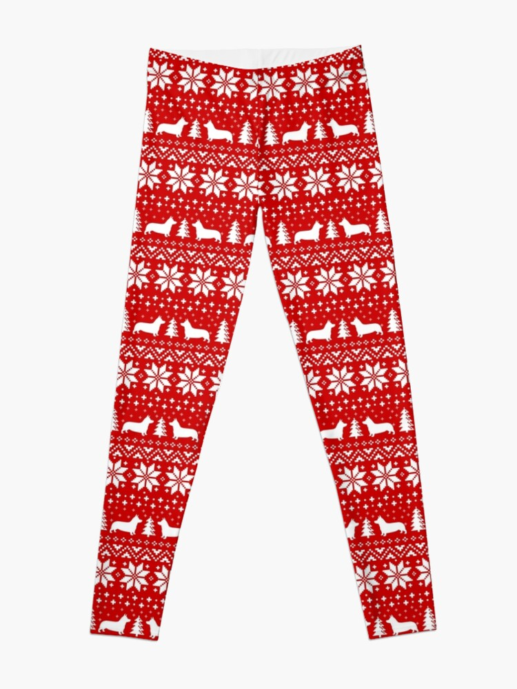 Alternate view of Pembroke Welsh Corgi Silhouettes Christmas Holiday Pattern Leggings