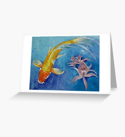 Butterfly Koi with Orchids Greeting Card