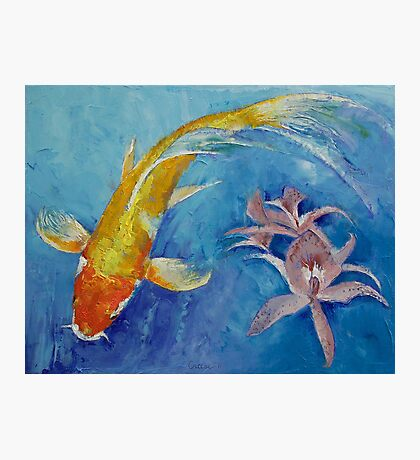 Butterfly Koi with Orchids Photographic Print