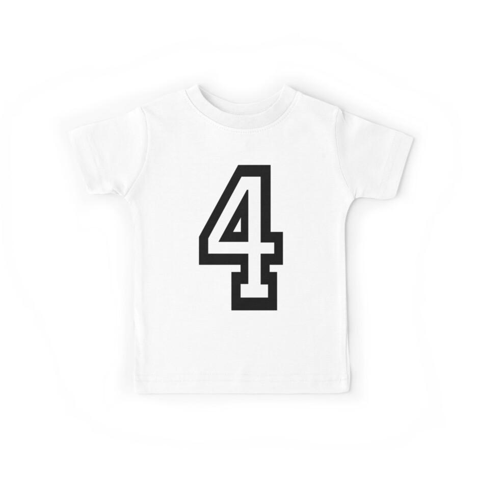Camisetas para niños «4, EQUIPO, DEPORTES, NÚMERO 4, CUATRO, CUARTO ...