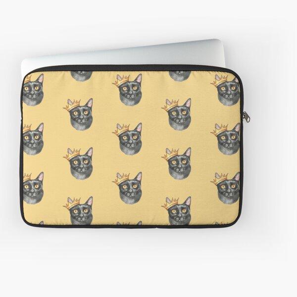 Black Cat Crown Watercolor Laptop Sleeve