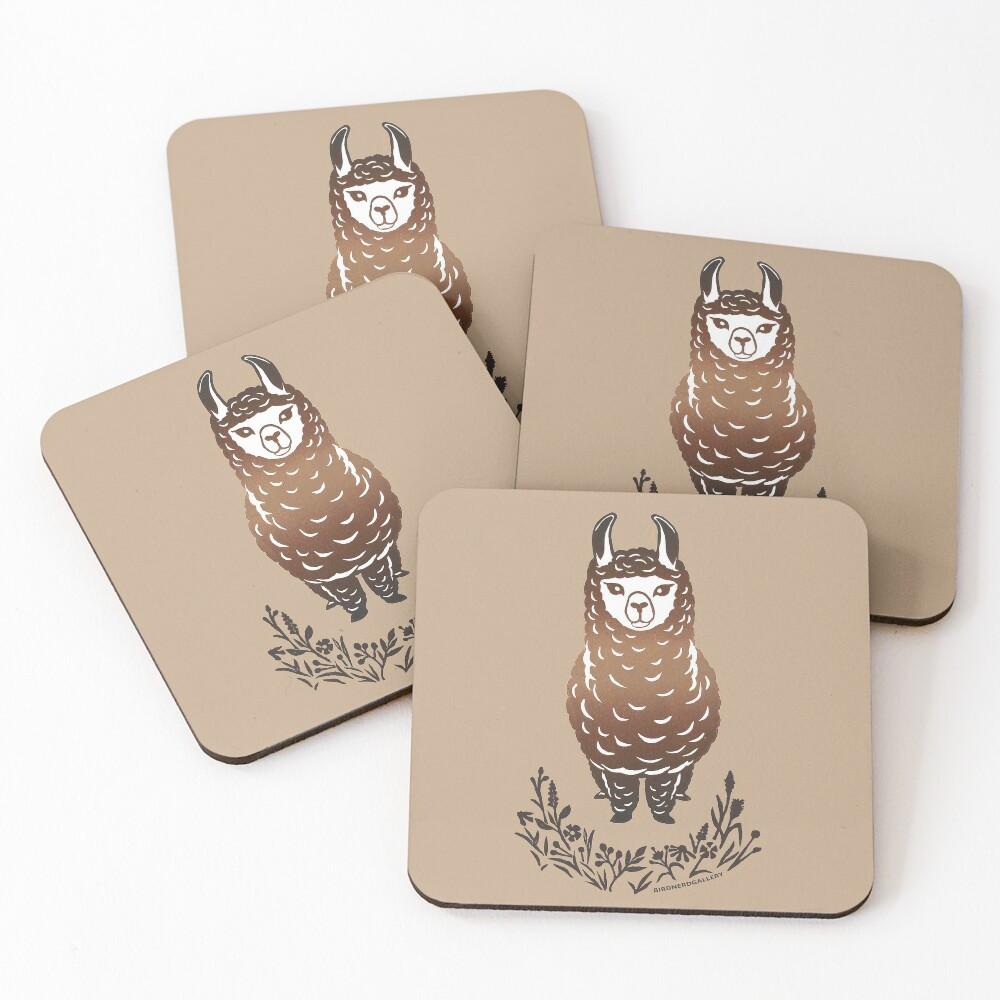 Llama Alpaca Linocut Design Coasters (Set of 4)