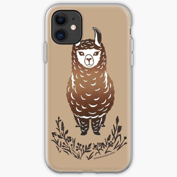 Llama Alpaca Linocut Design iPhone Soft Case