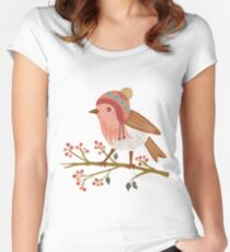 Winter Robin Fitted Scoop T-Shirt