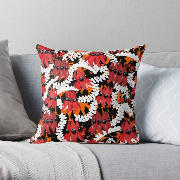 Vibrant Sturt Desert Peas Throw Pillow