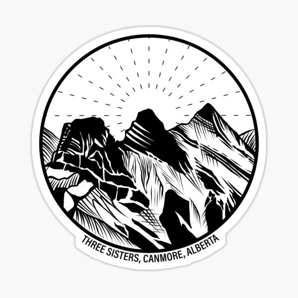 Three Sisters Mountains, Canmore, Alberta, Canada Sticker