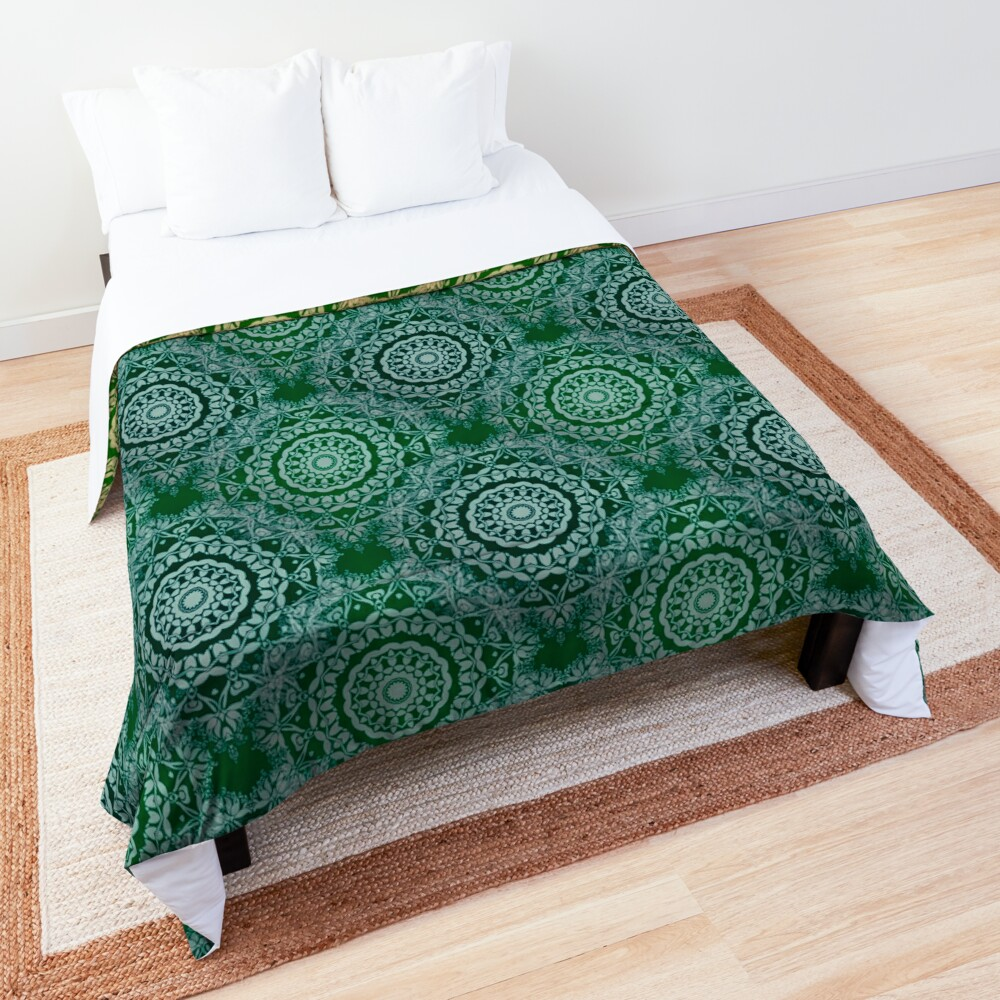Gold Mandala for Truth and Enlightenment Green Comforter
