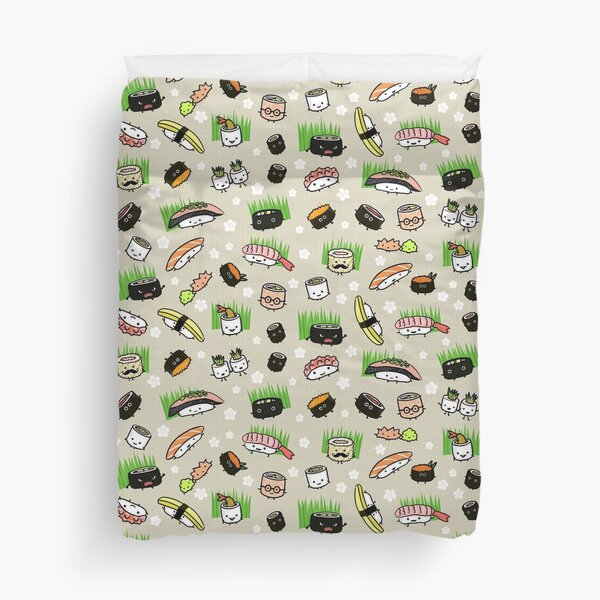 Cute Sushi Characters Pattern Duvet Cover