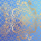 Gold  Filigree and Lace on Blue by tiokvadrat