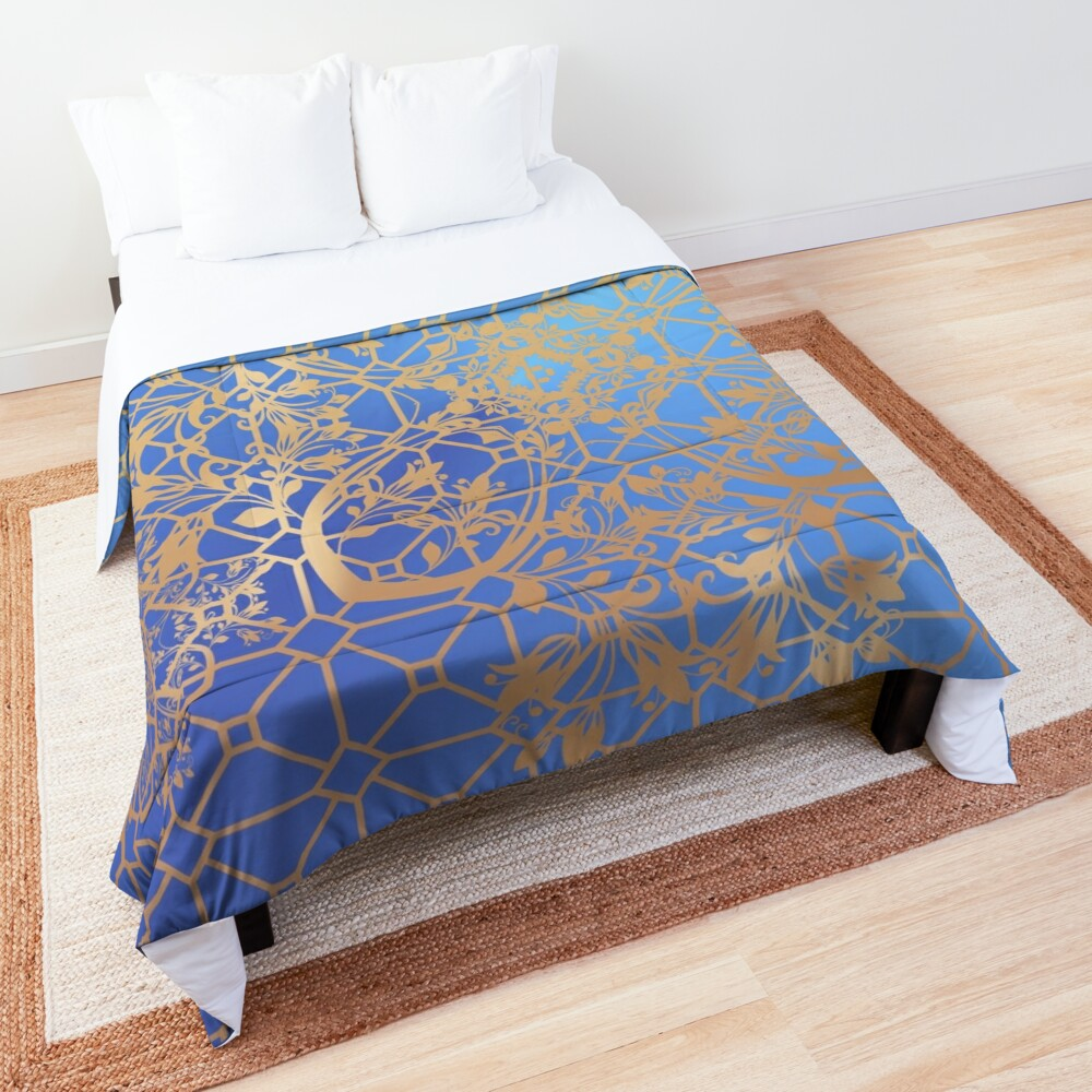Gold  Filigree and Lace on Blue Comforter