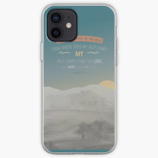 Modern watercolour painting grey, blue design, scripture bible verse Psalm 121 verse 1 'my help helps from the lord, who made heaven and earth'. Powerful. iPhone Soft Case