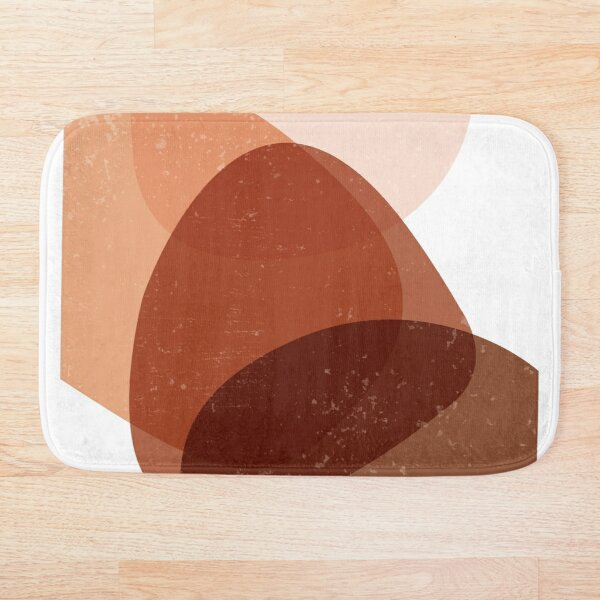 Terracotta Abstract 70 - Modern, Contemporary Art - Abstract Organic Shapes - Minimal - Brown Bath Mat
