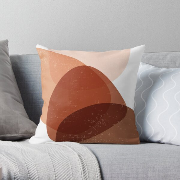 Terracotta Abstract 70 - Modern, Contemporary Art - Abstract Organic Shapes - Minimal - Brown Throw Pillow