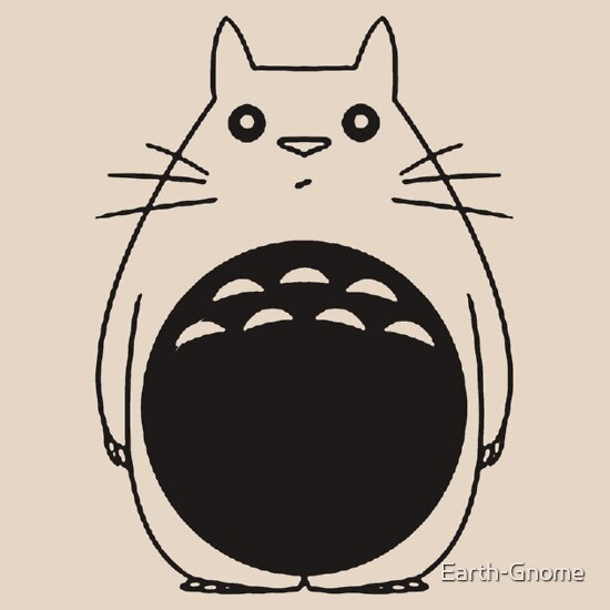 TShirtGifter presents: Black Totoro Outline
