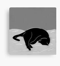 Sleeping Cat in Grey Canvas Print