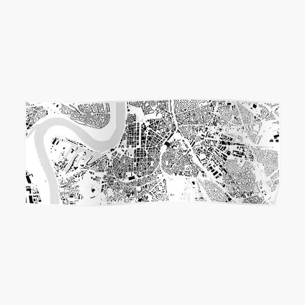 Düsseldorf black & white building city map Poster